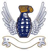 Wing grenade emblem — Stock Vector