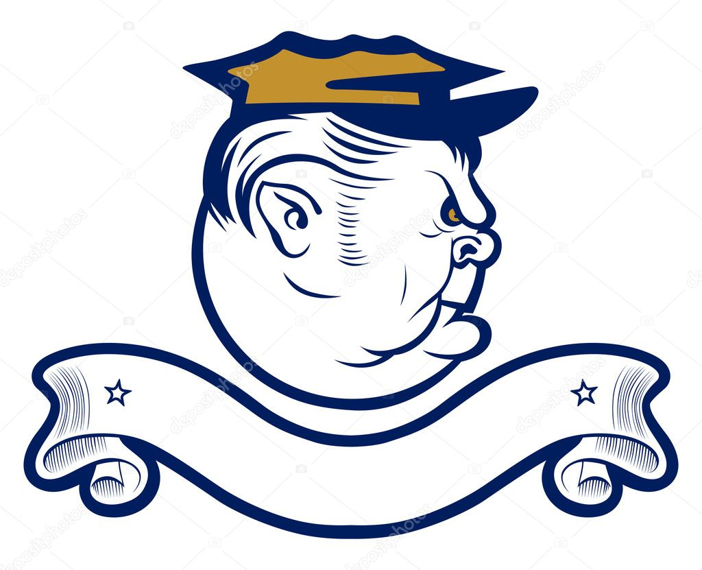 Policeman officer angry face with cap  Stock Vector #6076656