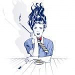 Smoking woman drinking coffee — Stock Vector #6210815