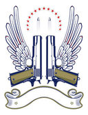 Gun and bullet emblem — Stock Vector