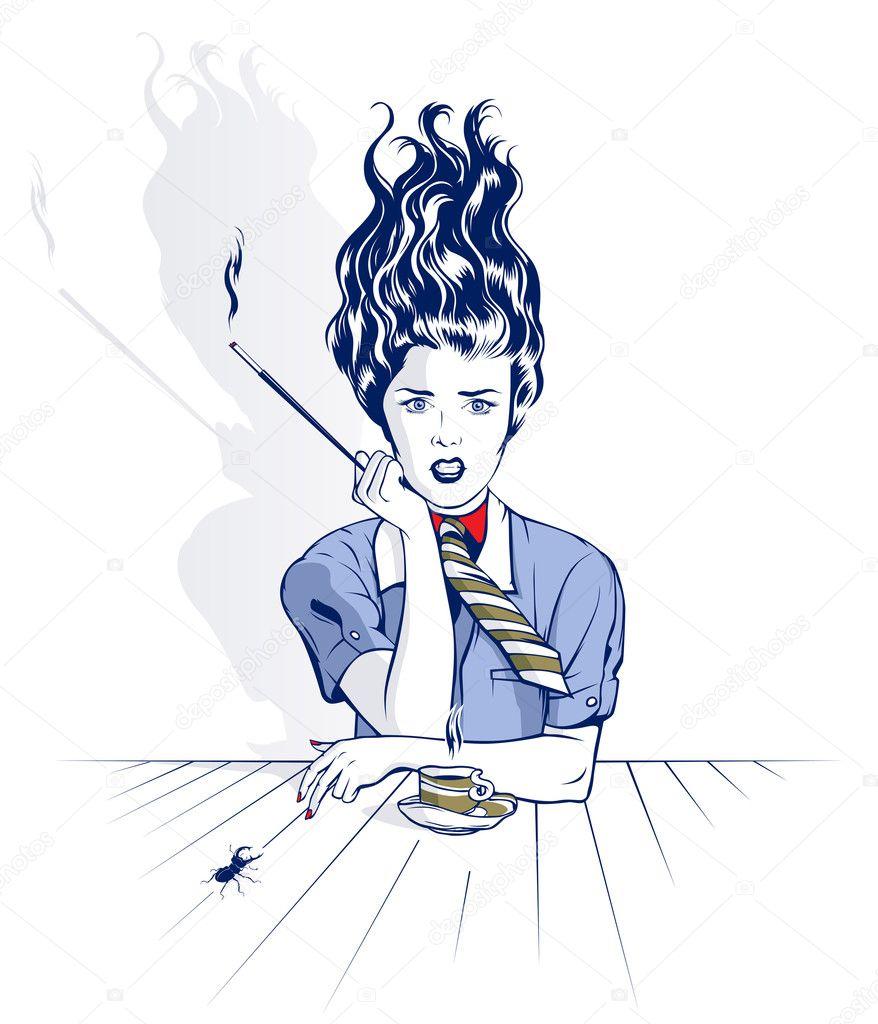 卡通美女抽烟图片