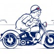 Retro style cartoon biker — Stock Vector