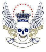 Crown skull emblem — Stock Vector