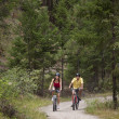 Stock Photo: Couple Cycling on Forest Trail