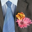 Flowers in a pocket of an brown jacket — Stock Photo