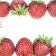 Fresh garden strawberry frame — Stock Photo