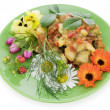 Fried vegetables with flowers — Stock Photo #6367432