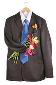 Tweed jacket with a bouquet of tulips — Stock Photo