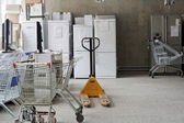 Thrown warehouse of the broken defective electronics — Stock Photo