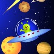 Cute alien in the spaceship — Stock Vector
