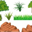 Green grass and rock — Stock Vector