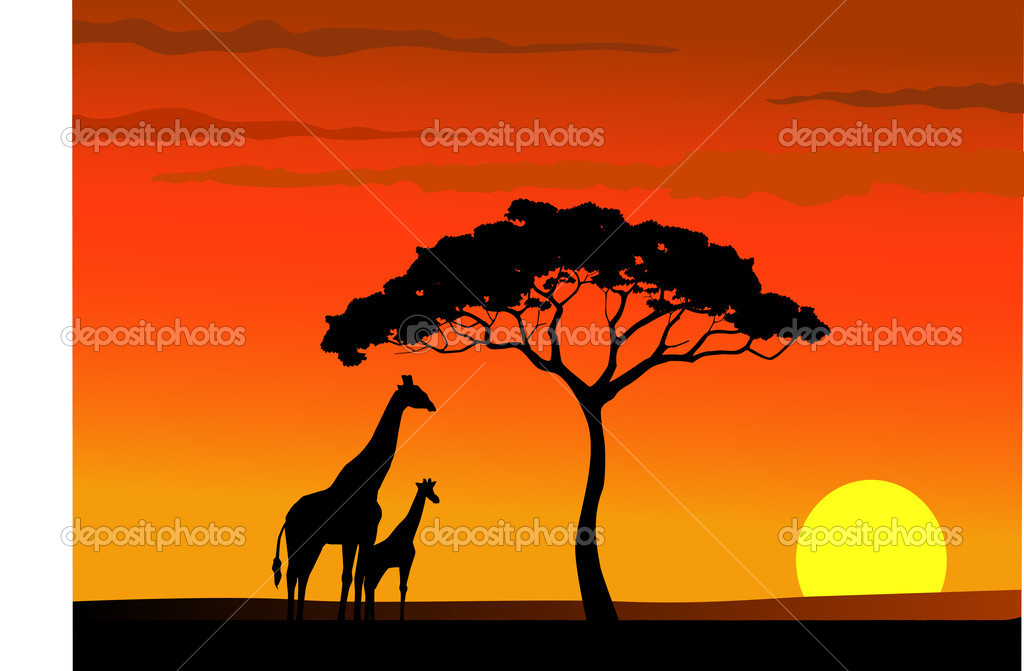 Giraffe silhouette in wildlife Africa — Stock Vector #5488589
