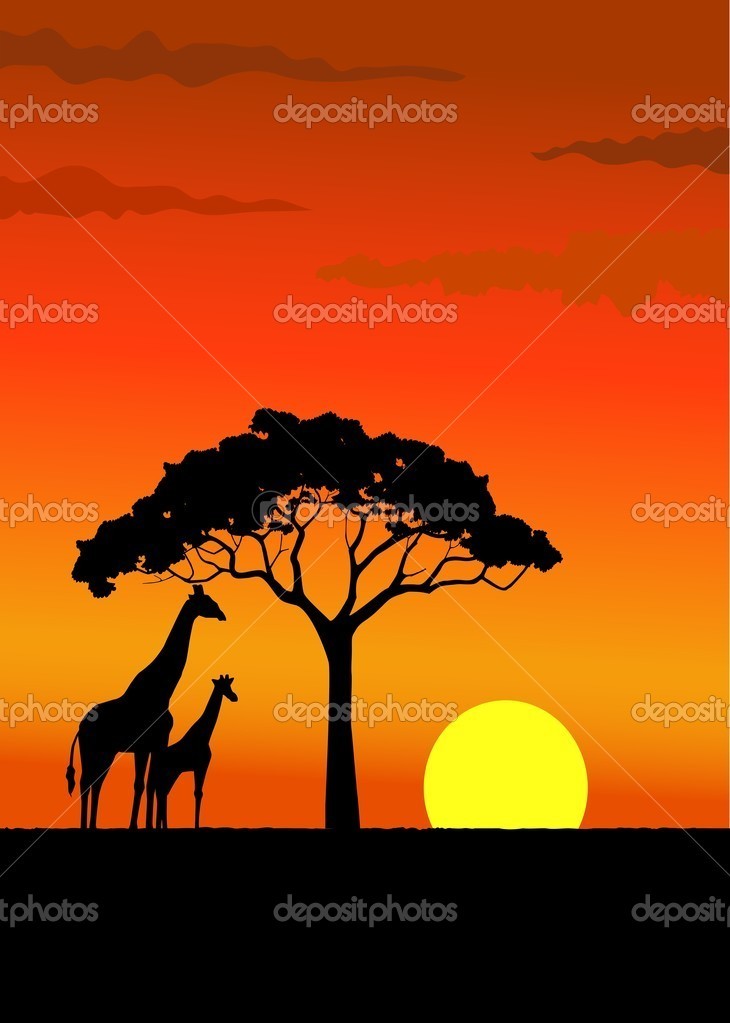Giraffe silhouette in wildlife Africa  Stock Vector #5488610