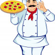 Stock Vector: Chef and pizza