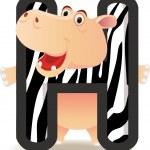 Animal alphabet H with Hippo cartoon — Stock Vector
