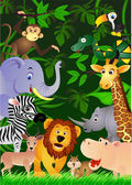 Animal cartoon in the jungle — 图库矢量图片