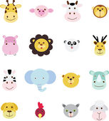 Collection of animal head doodle icon set — Stock Vector