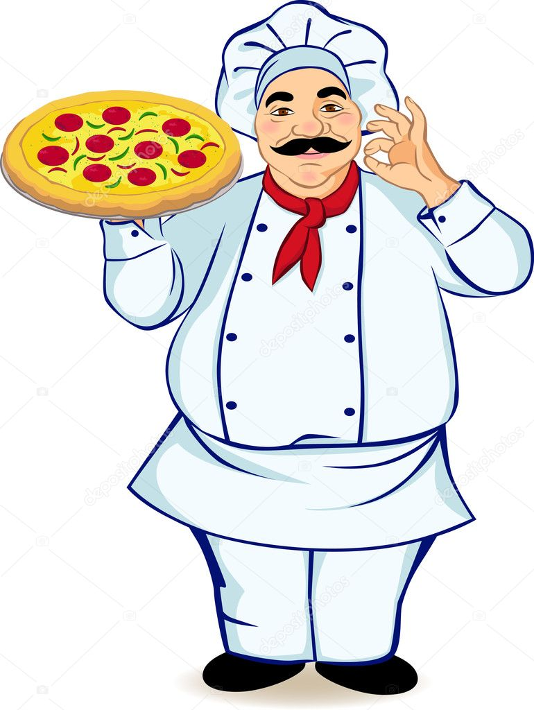 Pizza Chef Vector Chef And Pizza — Vector by