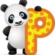 Alphabet P with Panda cartoon — Stock Vector