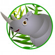 Stock Vector: Rhino cartoon