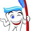 Royalty-Free Stock Vector Image: Tooth character with tooth brush and paste
