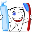 Tooth character with tooth brush and paste — Stock Vector