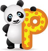 Alfabet p met panda cartoon — Stockvector