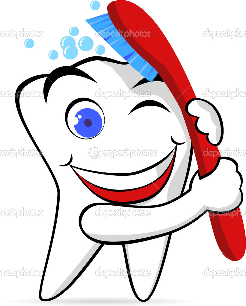 1 Toothed Cartoon Characters : Tooth character with brush — stock vector dagadu