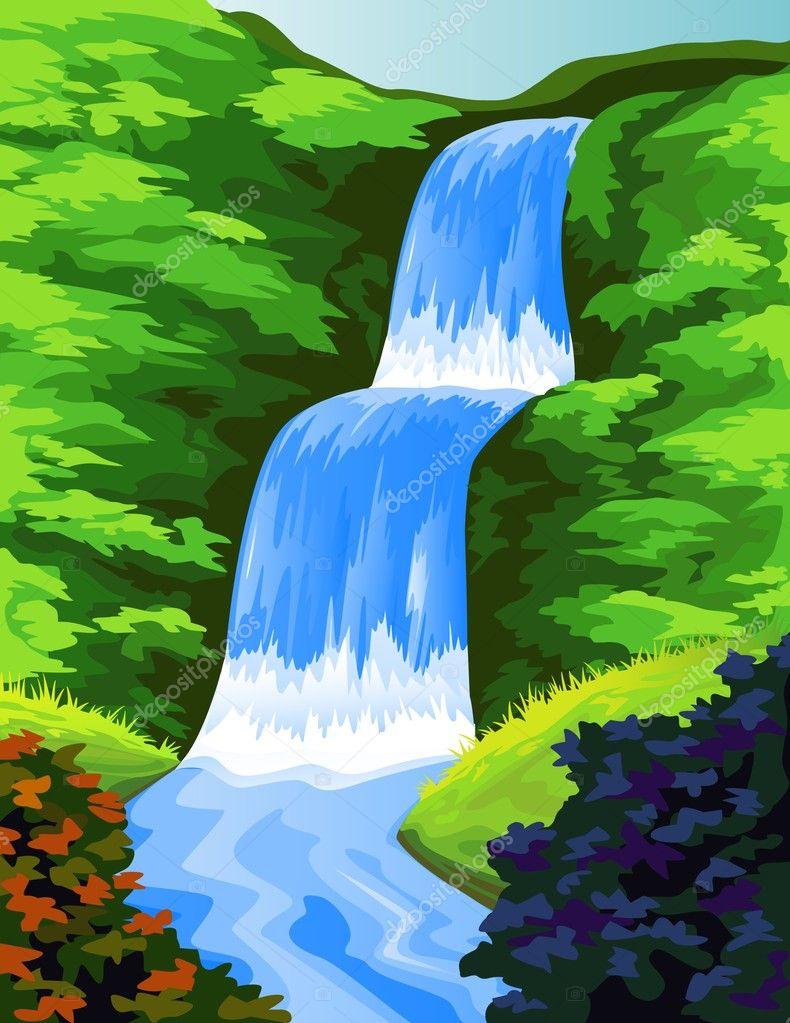 Line Drawing Waterfall : Beautiful waterfall — stock vector dagadu