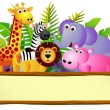 Wild animal cartoon and blank sign - Vettoriali Stock 