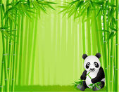 Panda and bamboo forest — Stock Vector