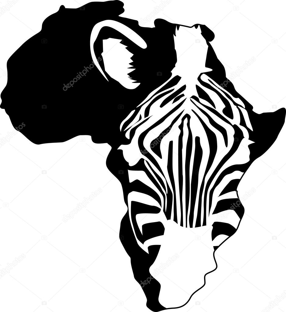 Zebra silhouette and Africa continent  Stock Vector #5587379