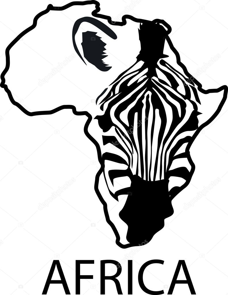 Zebra silhouette and Africa continent — Stock Vector #5587411