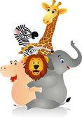 Animales divertidos dibujos animados — Vector de stock