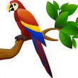 Parrot bird in the jungle — Stock Vector