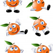 Orange fruit character - 图库矢量图片