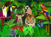 Wild animal in the jungle — Stock Vector