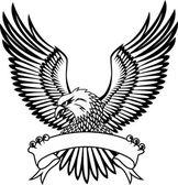 Eagle avec emblème — Vecteur