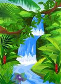 Beautiful waterfall — Stock Vector