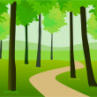 Road through forest — Stock Vector