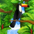Stock Vector: Toucan bird in the forest