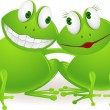 Stock Vector: Frog couple in love