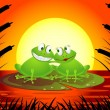 Frog couple in love — Stock Vector