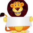 Lion and blank sign — Stock Vector