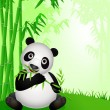 Stock Vector: Panda eating bamboo