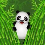 Panda eating bamboo — Stock Vector #5859105