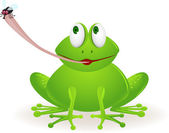 Cute frog cartoon catching fly — Stock Vector