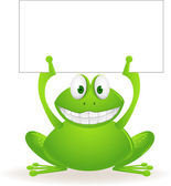 Cute frog and blank sign — Stock Vector