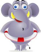 Elephant wearing life belt — Stock Vector