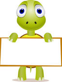 Turtle and blank sign — Stock Vector